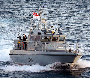 HMS Sabre, one of 2 lightly armed fast patrol boats based in Gibraltar