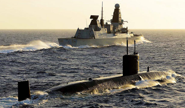 Type 45 Destroyer and T class submarine